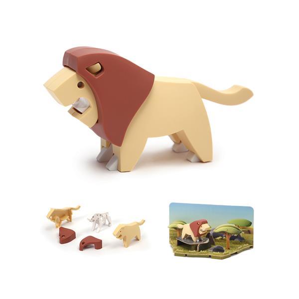 Leon hecho por piezas mágneticas para montar y descubrir. Juguete creativo y educativo para que los niños aprendan sobre el mundo animal.
