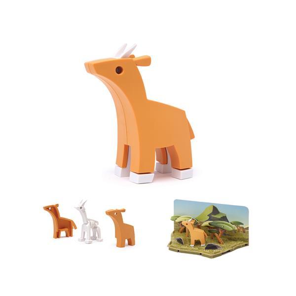 Impala hecho por piezas mágneticas para montar y descubrir. Juguete creativo y educativo para que los niños aprendan sobre el mundo animal.