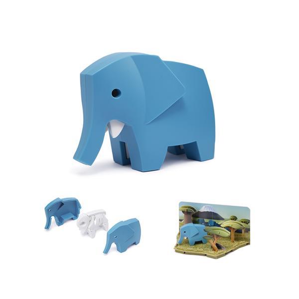 Elefante hecho por piezas mágneticas para montar y descubrir. Juguete creativo y educativo para que los niños aprendan sobre el mundo animal.