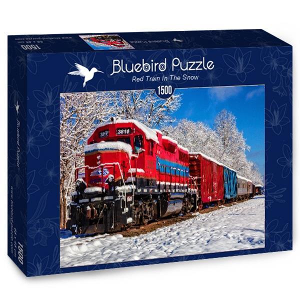 Puzzle Bluebird - Tren rojo en la nieve - 1500 piezas