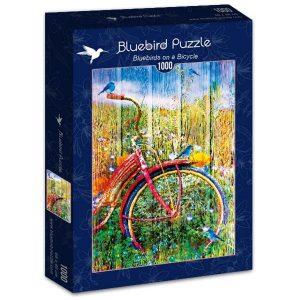 Puzzle Bluebird - Pájaros azules en una bicicleta - 1000 piezas