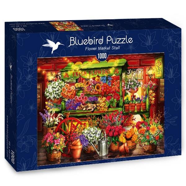 Puzzle Bluebird - Flor Puesto de mercado - 1000 piezas