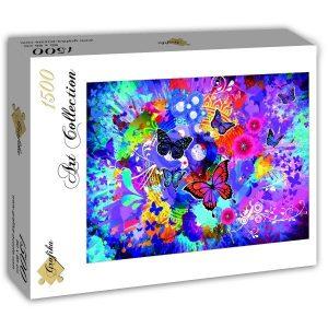 Puzzle Grafika - Colorido de las mariposas y las flores - 1500 piezas