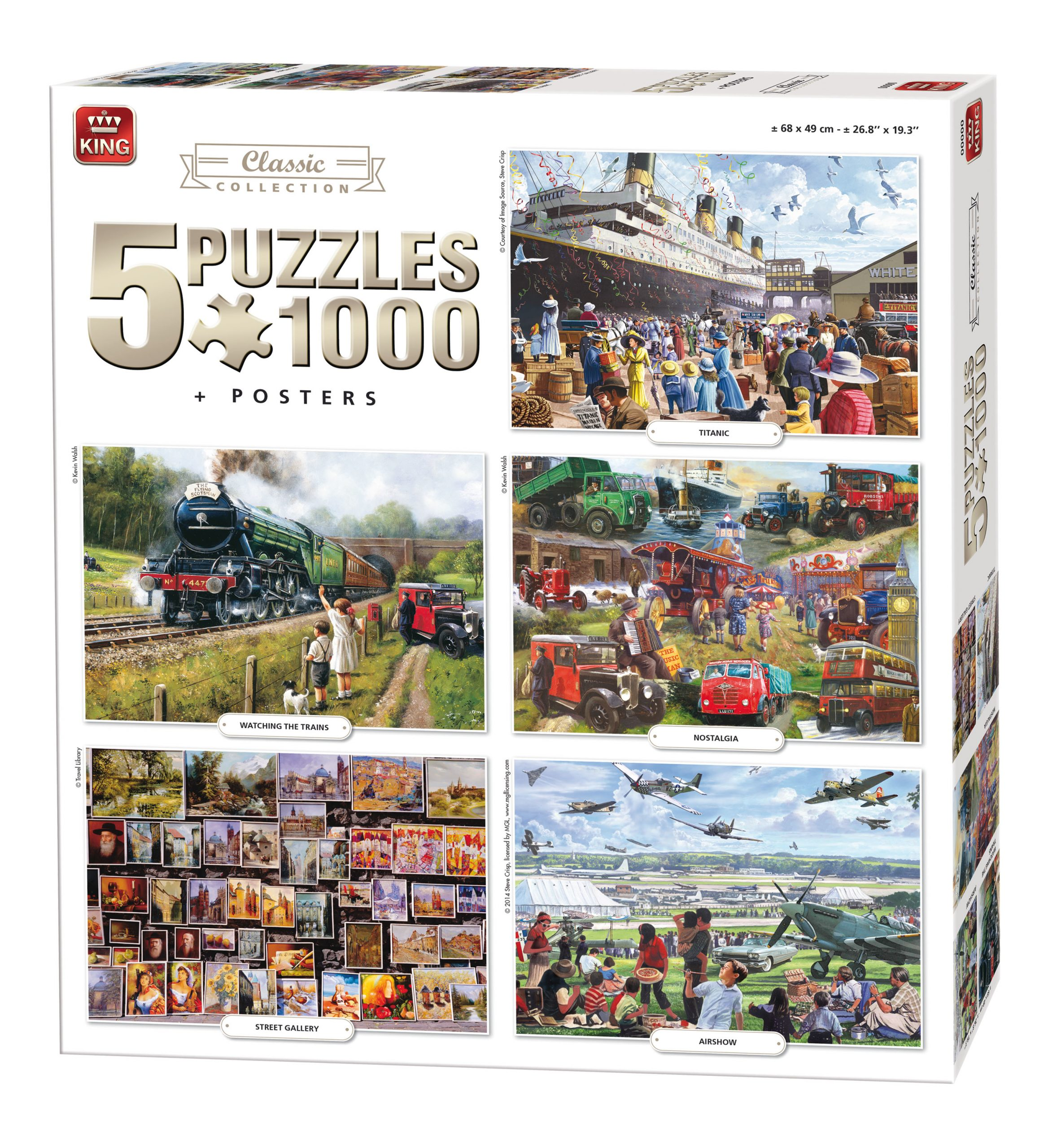 Puzzle King Pack 5 puzzles Imagenes Clasicas 1000 piezas + 5 posters