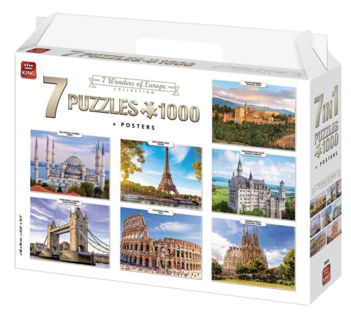 Puzzle King Pack 7 puzzles Maravillas de Europa 1000 piezas + 7 posters