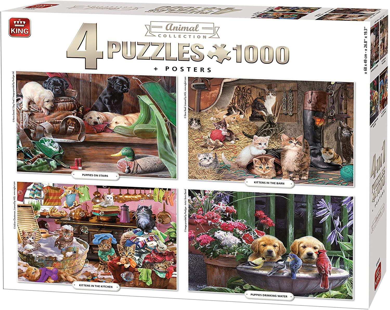 Puzzle King Pack 4 puzzles Animales de 1000 piezas + 4 posters