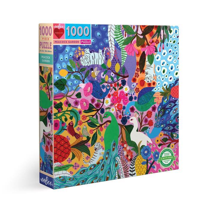 Puzzle eeBoo Jardín del pavo real de 1000 piezas