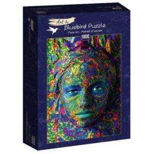 Puzzle Bluebird Face Art Retrato de mujer de 1000 piezas