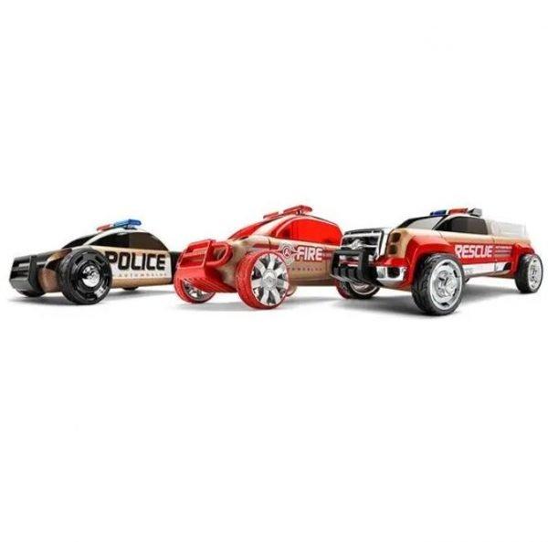 Coche madera Pack 3 Policía + Bomberos + Rescate Automoblox