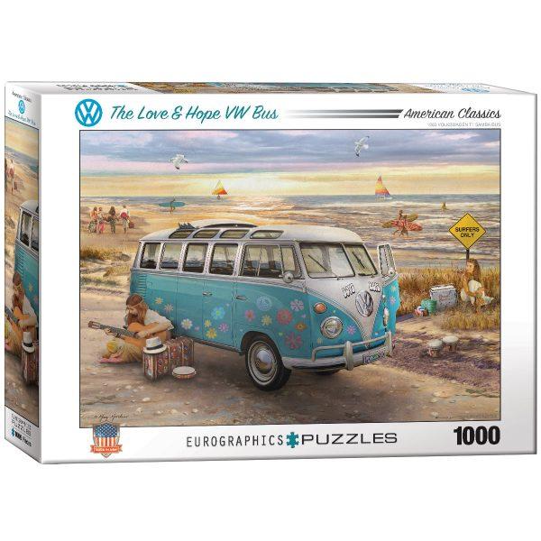 Puzzle Eurographics Amor y esperanza - Furgoneta Volskwagen 1000 piezas