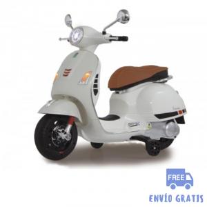 Moto eléctrica niño niña Vespa GTS 125 blanca 12V