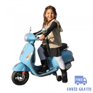 Moto eléctrica niño niña Vespa GTS 125 azul 12V