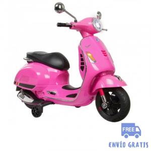 Moto eléctrica niño niña Vespa fucsia GTS 125 12V